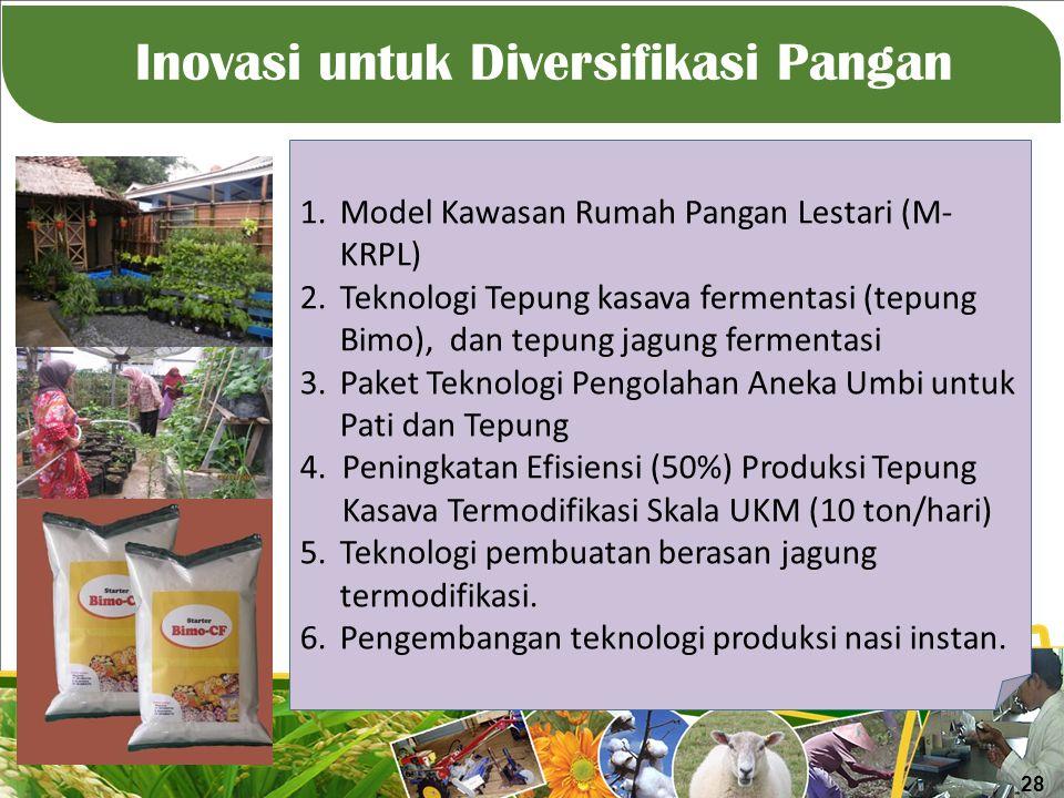 Inovasi untuk Diversifikasi Pangan 1.Model Kawasan Rumah Pangan Lestari (M- KRPL) 2.Teknologi Tepung kasava fermentasi (tepung Bimo), dan tepung jagung fermentasi 3.Paket Teknologi Pengolahan Aneka Umbi untuk Pati dan Tepung 4.Peningkatan Efisiensi (50%) Produksi Tepung Kasava Termodifikasi Skala UKM (10 ton/hari) 5.Teknologi pembuatan berasan jagung termodifikasi.