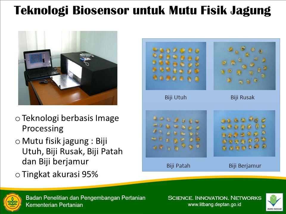Teknologi Biosensor untuk Mutu Fisik Jagung o Teknologi berbasis Image Processing o Mutu fisik jagung : Biji Utuh, Biji Rusak, Biji Patah dan Biji berjamur o Tingkat akurasi 95% Biji UtuhBiji Rusak Biji PatahBiji Berjamur