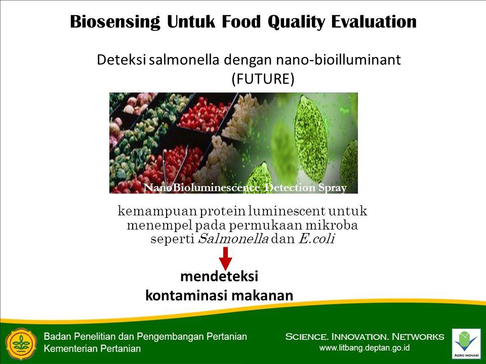 Biosensing Untuk Food Quality Evaluation Deteksi salmonella dengan nano-bioilluminant (FUTURE) NanoBioluminescence Detection Spray kemampuan protein luminescent untuk menempel pada permukaan mikroba seperti Salmonella dan E.coli mendeteksi kontaminasi makanan