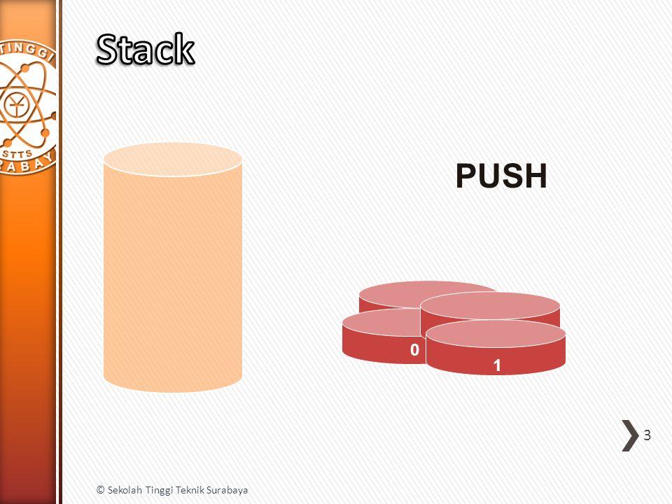 public int Pop() { if (IsEmpty()) { throw new Exception( stack underflow ); } else { int data = items(top); top = top – 1; return data; } } 14 © Sekolah Tinggi Teknik Surabaya