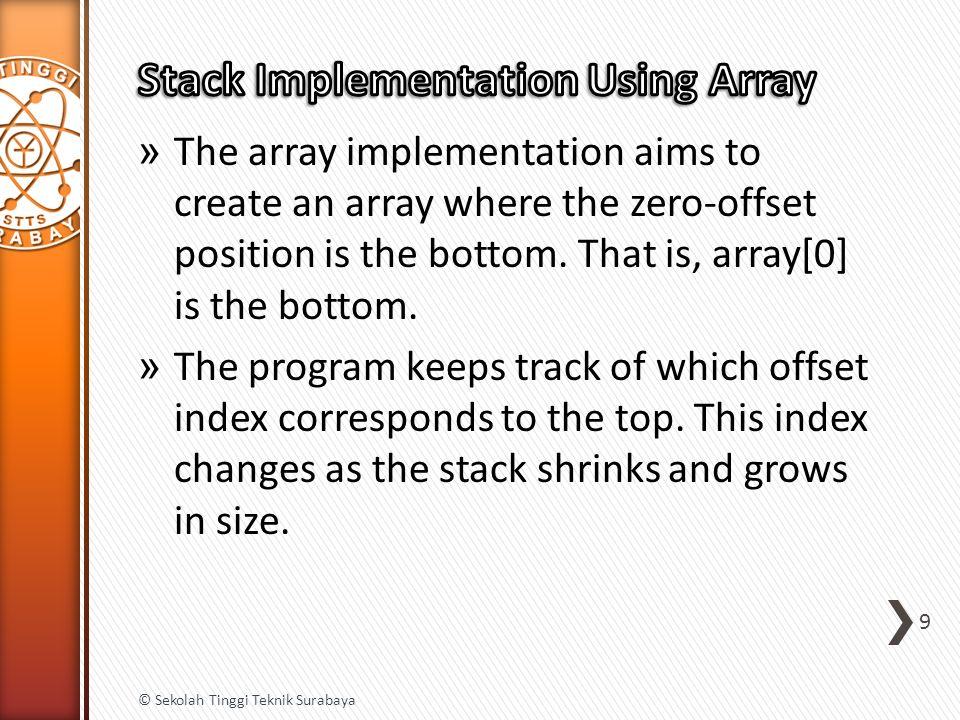 string expression = 1 + (2 - (2+3) * 4 / (3+1)) * 5 ; Stack stack = new Stack (); for (int index = 0; index < expression.Length; index++) { char ch = expression[index]; if (ch == ( ) { stack.Push(index); } else if (ch == ) ) { int startIndex = stack.Pop(); int length = index - startIndex + 1; string contents = expression.Substring(startIndex, length); Console.WriteLine(contents); } 20 © Sekolah Tinggi Teknik Surabaya