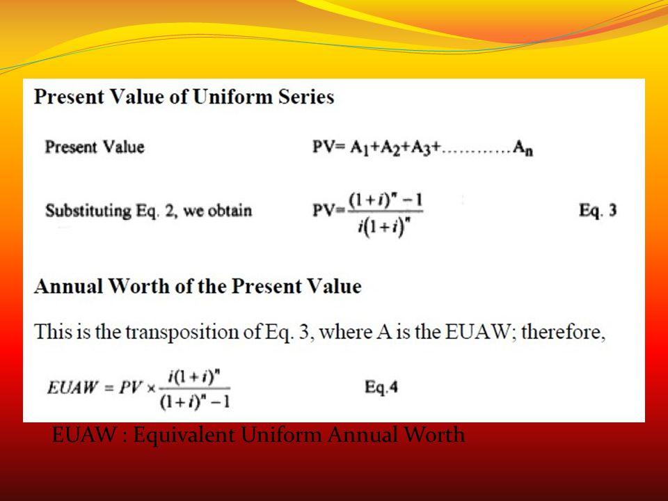 EUAW : Equivalent Uniform Annual Worth