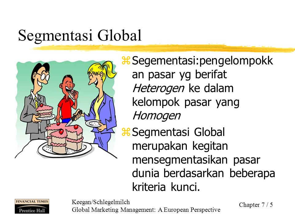 Keegan/Schlegelmilch Global Marketing Management: A European Perspective Chapter 7 / 5 Segmentasi Global z Segementasi:pengelompokk an pasar yg berifa