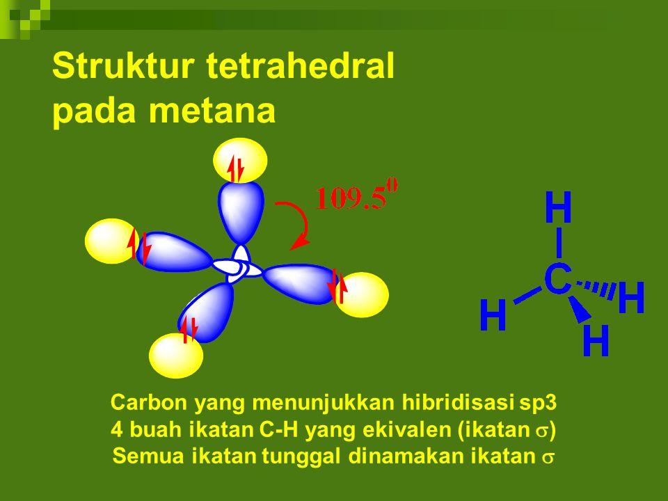 Struktur tetrahedral pada metana Carbon yang menunjukkan hibridisasi sp3 4 buah ikatan C-H yang ekivalen (ikatan  ) Semua ikatan tunggal dinamakan ik