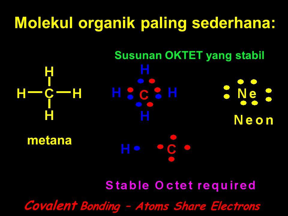 Molekul organik paling sederhana: Covalent Bonding – Atoms Share Electrons Susunan OKTET yang stabil metana