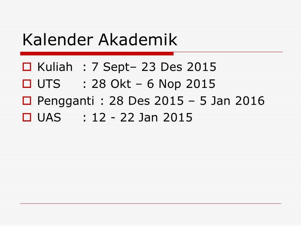 Kalender Akademik  Kuliah: 7 Sept– 23 Des 2015  UTS: 28 Okt – 6 Nop 2015  Pengganti : 28 Des 2015 – 5 Jan 2016  UAS: 12 - 22 Jan 2015