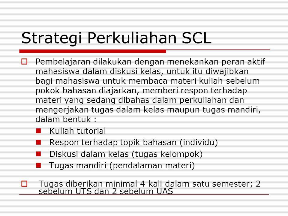 Strategi Perkuliahan SCL  Pembelajaran dilakukan dengan menekankan peran aktif mahasiswa dalam diskusi kelas, untuk itu diwajibkan bagi mahasiswa unt