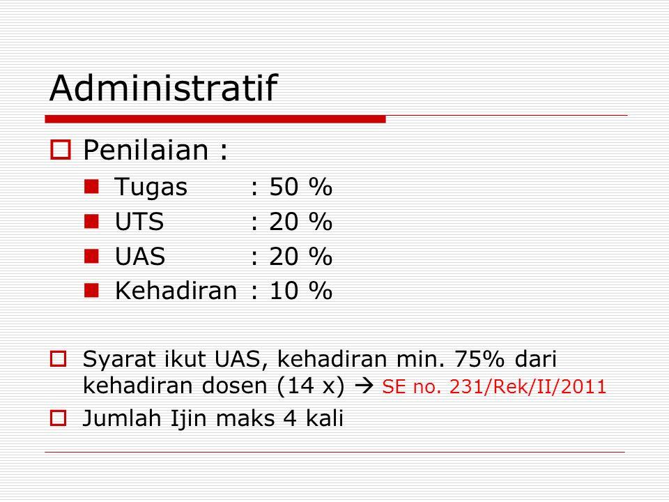 Administratif  Penilaian : Tugas: 50 % UTS: 20 % UAS: 20 % Kehadiran: 10 %  Syarat ikut UAS, kehadiran min. 75% dari kehadiran dosen (14 x)  SE no.