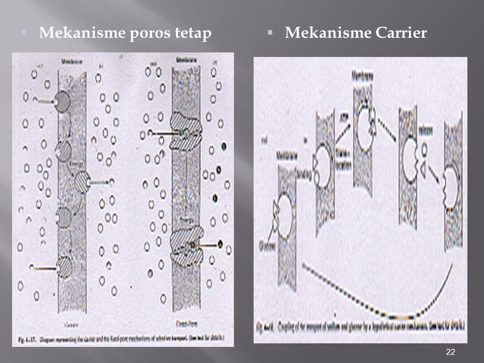 22  Mekanisme Carrier  Mekanisme poros tetap