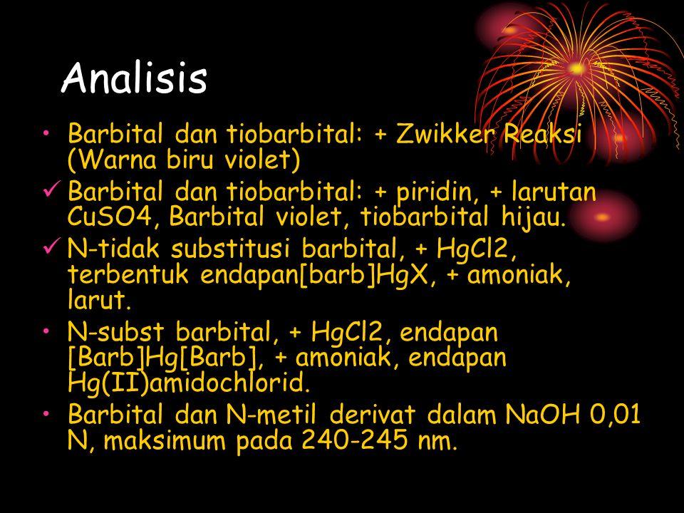 Analisis Barbital dan tiobarbital: + Zwikker Reaksi (Warna biru violet) Barbital dan tiobarbital: + piridin, + larutan CuSO4, Barbital violet, tiobarb