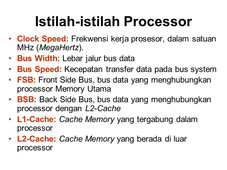 Istilah-istilah Processor Clock Speed: Frekwensi kerja prosesor, dalam satuan MHz (MegaHertz). Bus Width: Lebar jalur bus data Bus Speed: Kecepatan tr