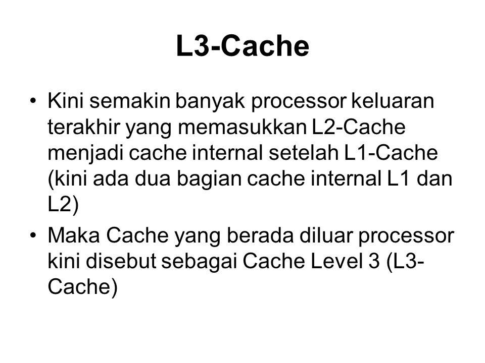 L3-Cache Kini semakin banyak processor keluaran terakhir yang memasukkan L2-Cache menjadi cache internal setelah L1-Cache (kini ada dua bagian cache i