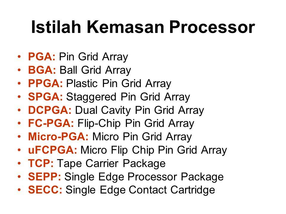 Processor Intel Intel486 DX –Clock Speed 15 MHz (20 MIPS), 33 MHz (27 MIPS), 50 MHz (41 MIPS) –Bus width: 32 bits –Addressable Memory: 4 Gigabytes –1.200.000 transistor (1 micron) –Math coprocesor terintegrasi