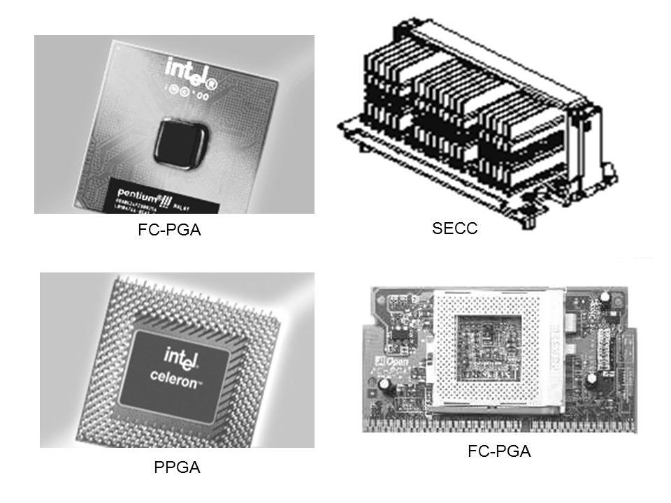 Processor Intel Intel Celeron –Clock Speed: 566 MHz, 600 MHz, 633 MHz, 667 MHz, 700 Mhz, 733 MHz, 1 GHz, 1.1 GHz –128 KB L1-Cache –Bus speed: 100 Mhz –Addressable Memory: 4 Gigabytes –19.000.000 transistor (0,25 micron) –FCPGA