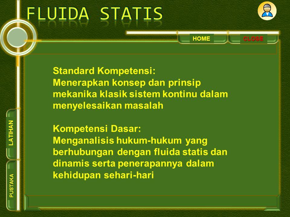 HOME PUSTAKA LATIHAN Standard Kompetensi: Menerapkan konsep dan prinsip mekanika klasik sistem kontinu dalam menyelesaikan masalah Kompetensi Dasar: Menganalisis hukum-hukum yang berhubungan dengan fluida statis dan dinamis serta penerapannya dalam kehidupan sehari-hari CLOSE