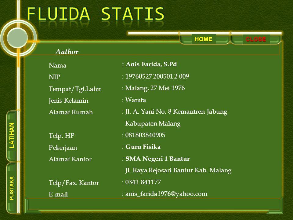 HOME PUSTAKA LATIHAN CLOSE Author Nama NIP Tempat/Tgl.Lahir Jenis Kelamin Alamat Rumah Telp.