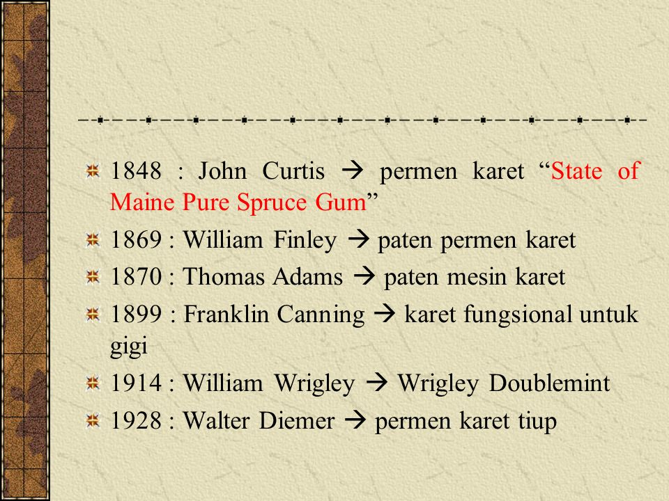 "1848 : John Curtis  permen karet ""State of Maine Pure Spruce Gum"" 1869 : William Finley  paten permen karet 1870 : Thomas Adams  paten mesin karet"