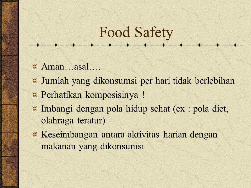 Food Safety Aman…asal….Jumlah yang dikonsumsi per hari tidak berlebihan Perhatikan komposisinya .