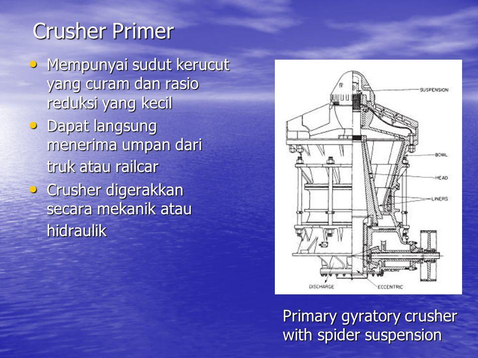 Primary gyratory crusher with spider suspension Mempunyai sudut kerucut yang curam dan rasio reduksi yang kecil Mempunyai sudut kerucut yang curam dan