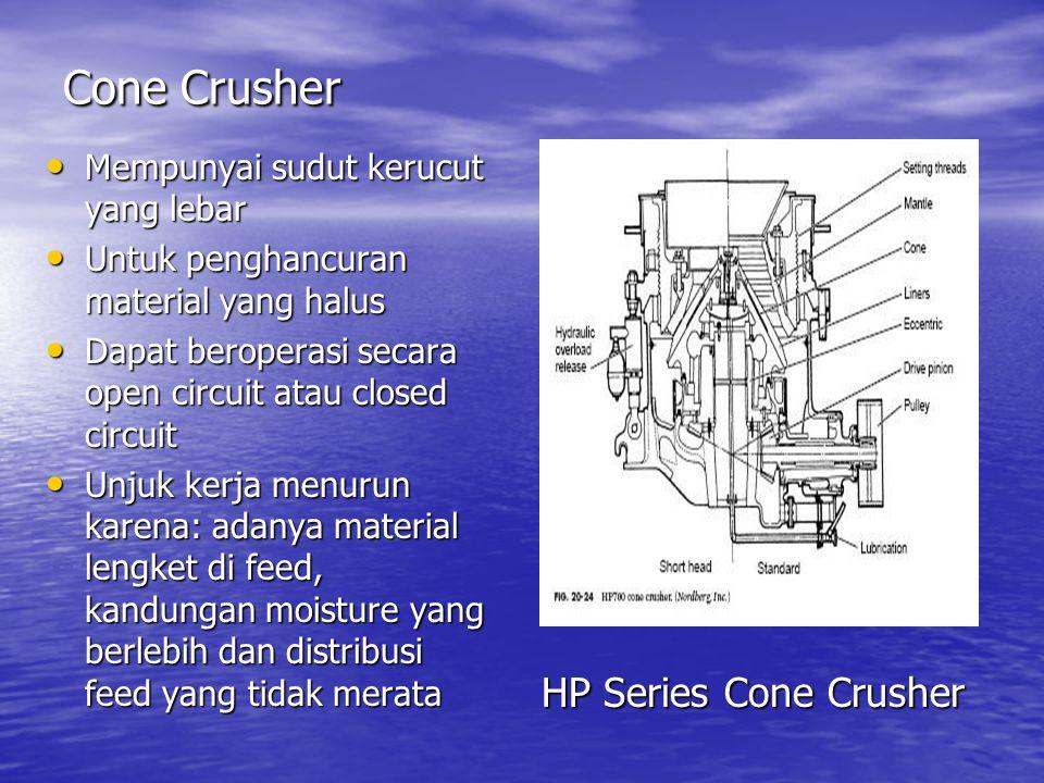 Cone Crusher HP Series Cone Crusher Mempunyai sudut kerucut yang lebar Mempunyai sudut kerucut yang lebar Untuk penghancuran material yang halus Untuk
