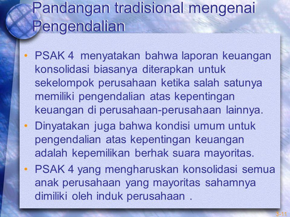 3-11 Pandangan tradisional mengenai Pengendalian PSAK 4 menyatakan bahwa laporan keuangan konsolidasi biasanya diterapkan untuk sekelompok perusahaan ketika salah satunya memiliki pengendalian atas kepentingan keuangan di perusahaan-perusahaan lainnya.
