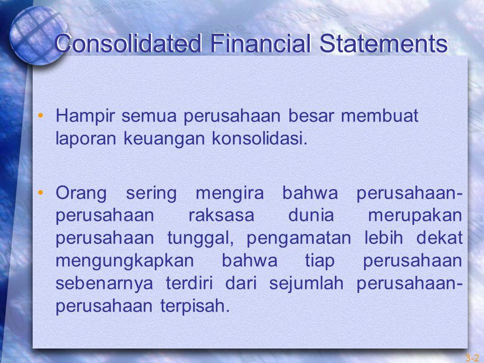 3-3 Consolidated Financial Statements Laporan keuangan konsolidasi (consolidated finacial statements) menyajikan posisi keuangan dan hasil usaha operasi induk perusahaan (entitas pengendali) dari satu atau lebih anak perusahaan (entitas yang dikendalikan) seakan – akan entitas-entitas individual tersebut adalah satu entitas atau perusahaan.