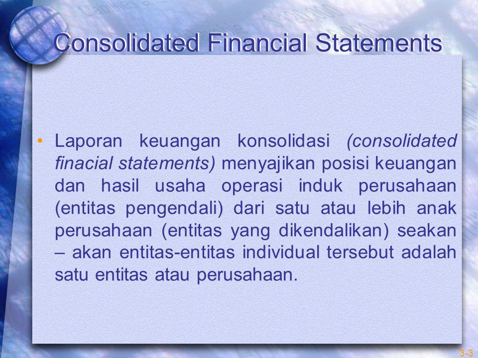 Pada contoh PT Indah dan PT Andika, beberapa hal perlu mendapat perhatian khusus untuk memmastikan bahwa laporan keuangan konsolidasi menampilkan seakan-akan laporan keuangan tersebut adalah laporan keuangan dari satu perusahaan tunggal 1.Kepemilikan antarperusahaan 2.Piutang dan utang antarperusahaan 3.Penjualan antarperusahaan 3-24