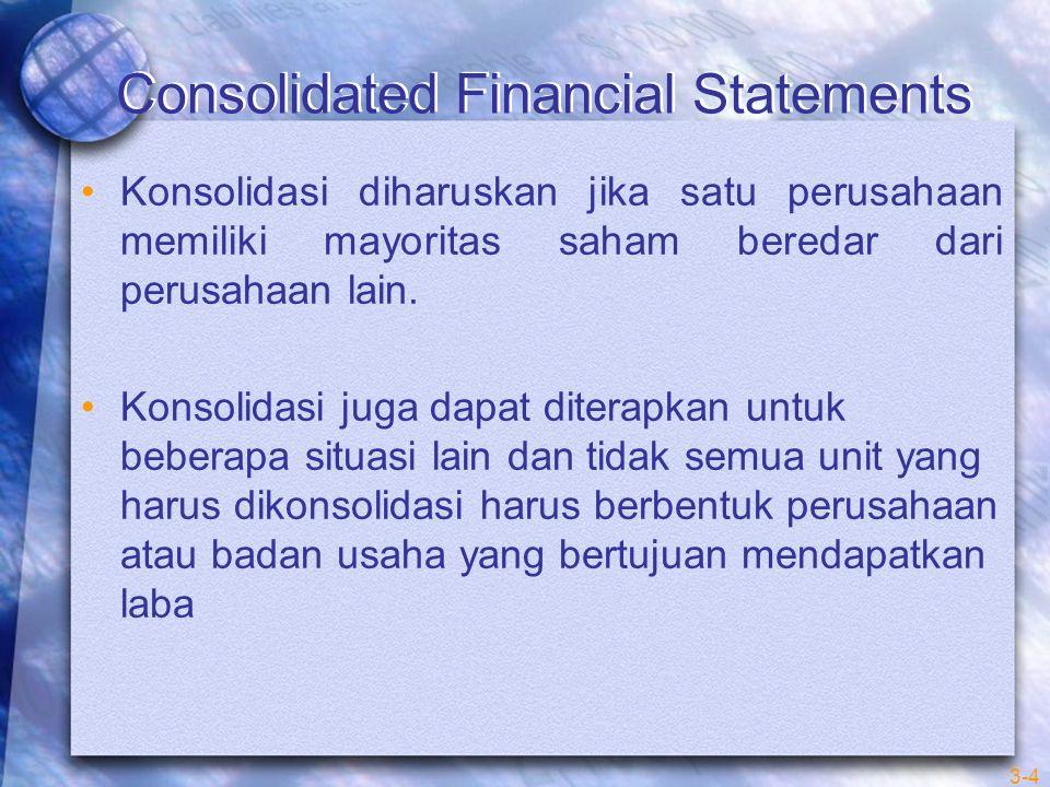 3-4 Consolidated Financial Statements Konsolidasi diharuskan jika satu perusahaan memiliki mayoritas saham beredar dari perusahaan lain.