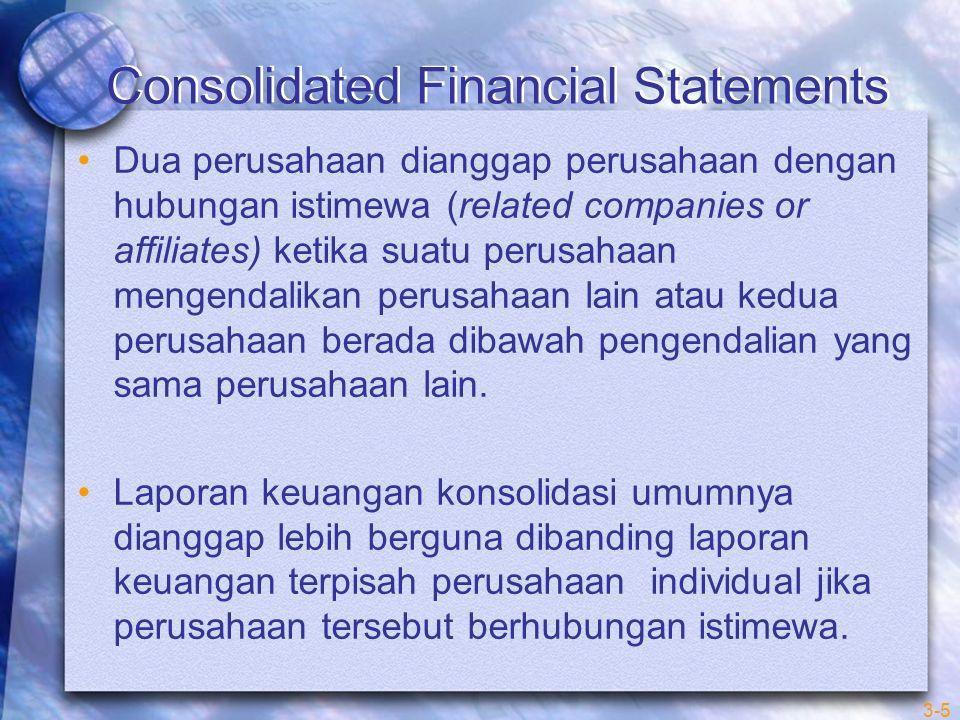 Consolidated Financial Statements Setiap penggabungan usaha menghasilkan satu dari dua situasi berikut : 1.Aset bersih dari satu atau kedua perusahaan yang bergabung ditransfer ke satu perusahaan (merger atau konsolidasi) 2.Tiap perusahaan yang bergabung tetap sebagai entitas legal terpisah atau separate legal entities 3-6