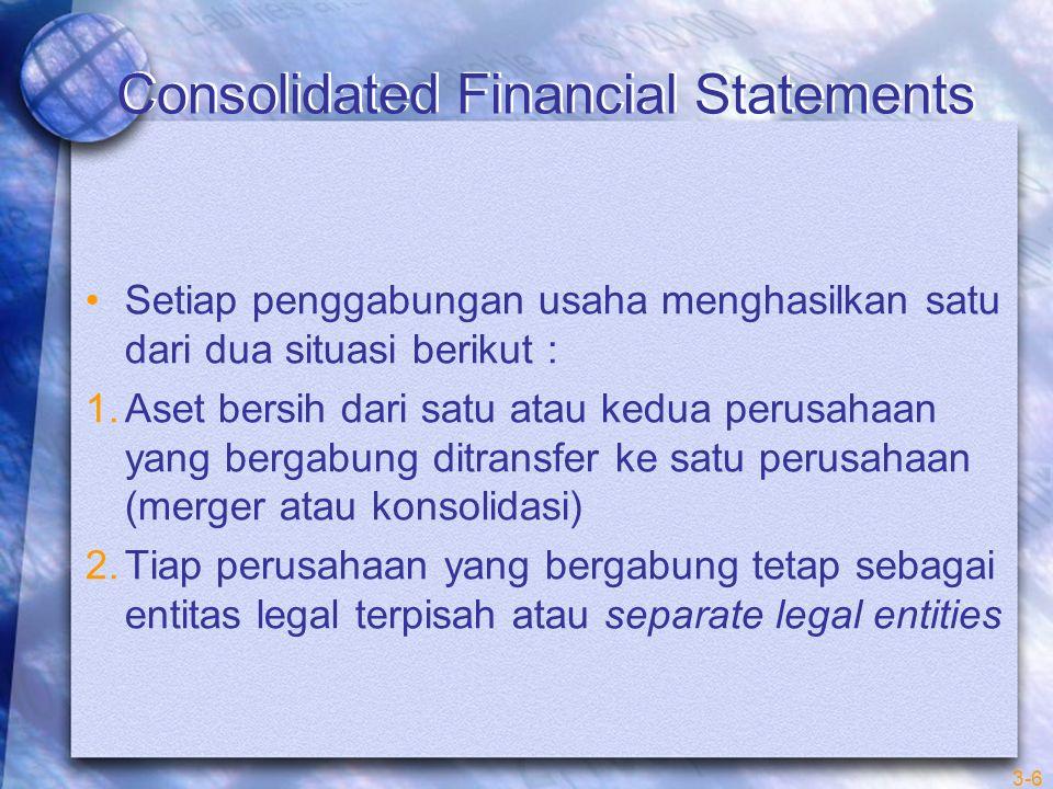 Consolidated Financial Statements Setiap penggabungan usaha menghasilkan satu dari dua situasi berikut : 1.Aset bersih dari satu atau kedua perusahaan