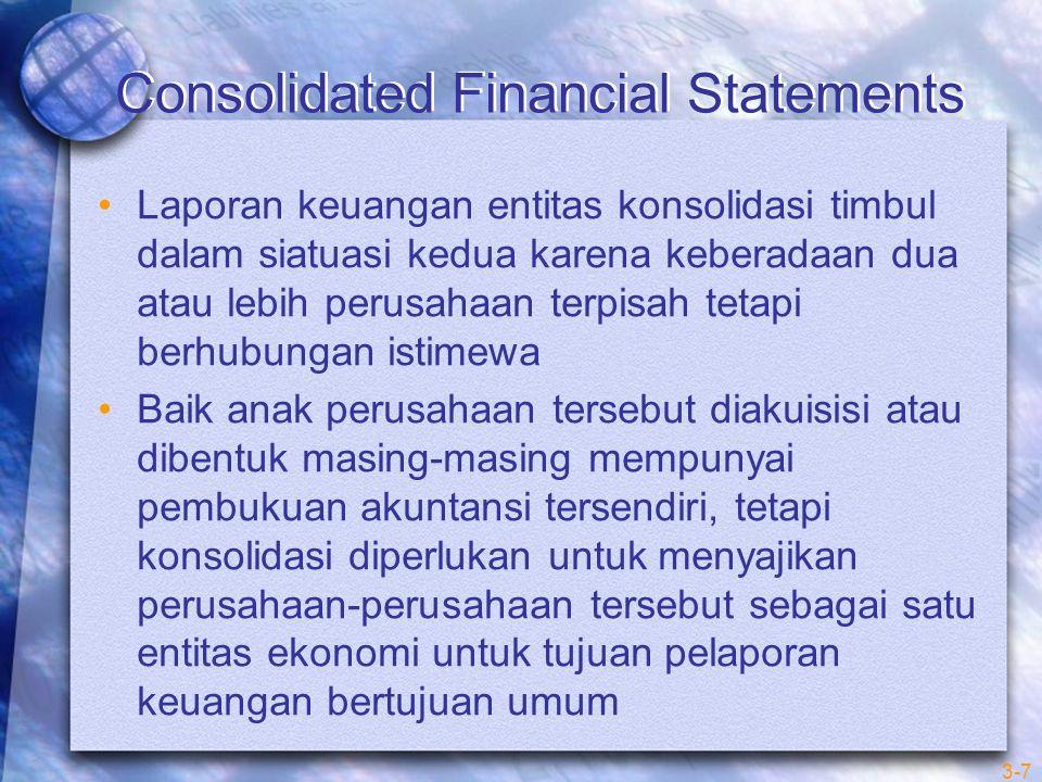 3-7 Consolidated Financial Statements Laporan keuangan entitas konsolidasi timbul dalam siatuasi kedua karena keberadaan dua atau lebih perusahaan ter