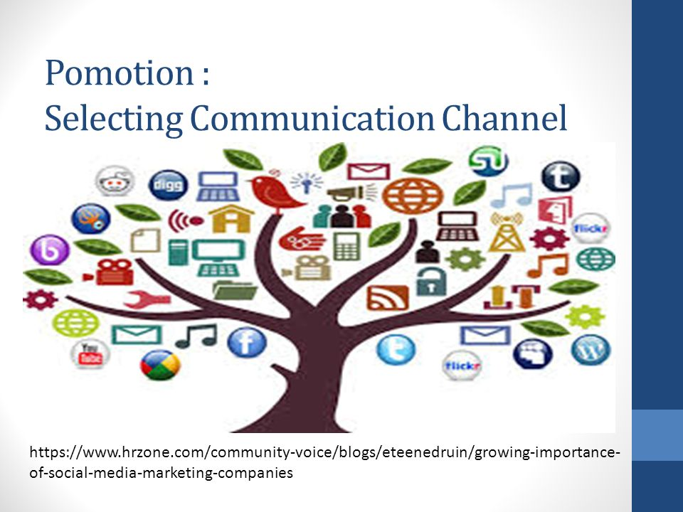 Pomotion : Selecting Communication Channel https://www.hrzone.com/community-voice/blogs/eteenedruin/growing-importance- of-social-media-marketing-companies