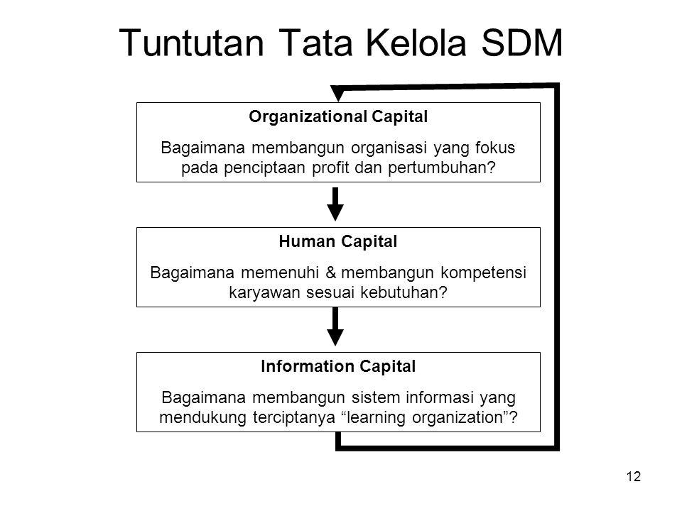 12 Tuntutan Tata Kelola SDM Organizational Capital Bagaimana membangun organisasi yang fokus pada penciptaan profit dan pertumbuhan? Human Capital Bag