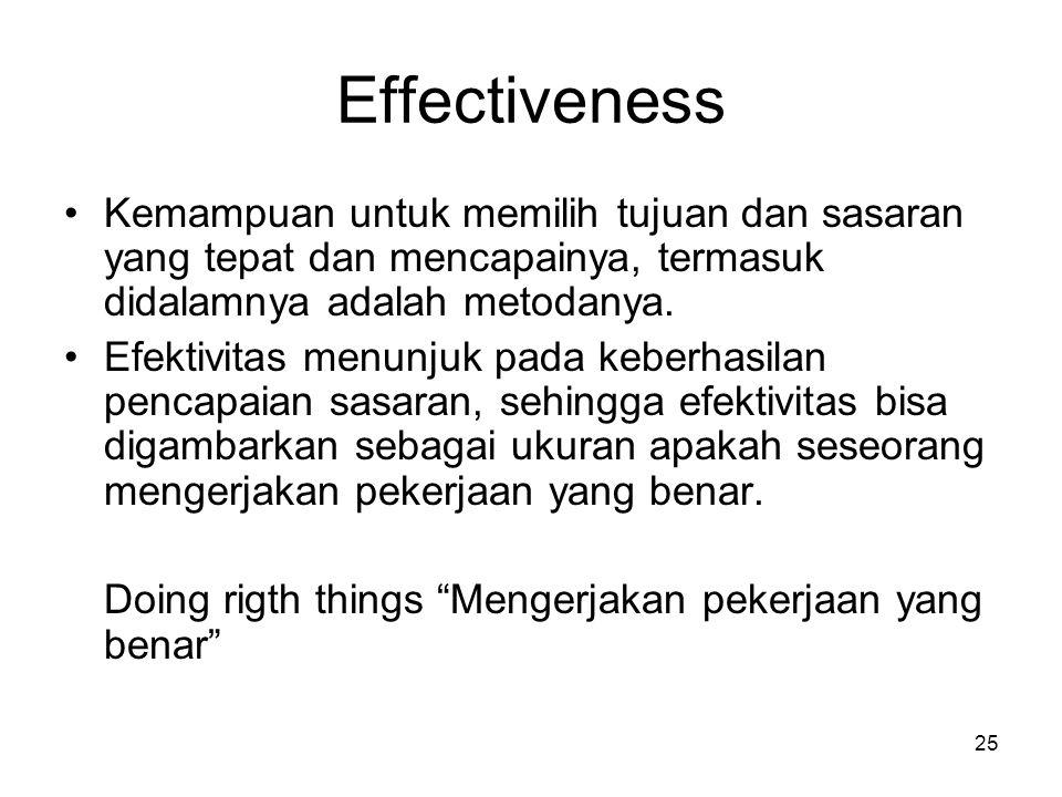 25 Effectiveness Kemampuan untuk memilih tujuan dan sasaran yang tepat dan mencapainya, termasuk didalamnya adalah metodanya. Efektivitas menunjuk pad