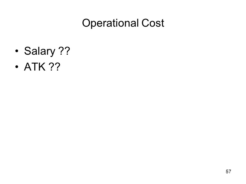 57 Operational Cost Salary ?? ATK ??