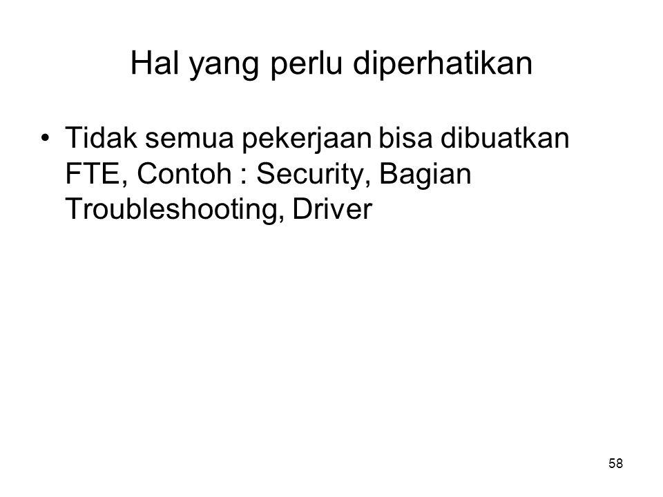 58 Hal yang perlu diperhatikan Tidak semua pekerjaan bisa dibuatkan FTE, Contoh : Security, Bagian Troubleshooting, Driver