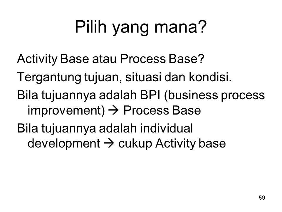 59 Pilih yang mana? Activity Base atau Process Base? Tergantung tujuan, situasi dan kondisi. Bila tujuannya adalah BPI (business process improvement)