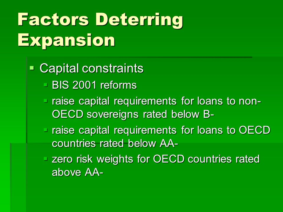 Factors Deterring Expansion  Capital constraints  BIS 2001 reforms  raise capital requirements for loans to non- OECD sovereigns rated below B-  raise capital requirements for loans to OECD countries rated below AA-  zero risk weights for OECD countries rated above AA-