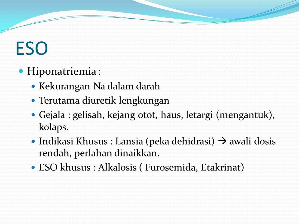 ESO Hiponatriemia : Kekurangan Na dalam darah Terutama diuretik lengkungan Gejala : gelisah, kejang otot, haus, letargi (mengantuk), kolaps.