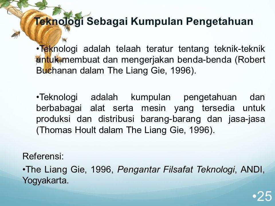 Teknologi Sebagai Kumpulan Pengetahuan Teknologi adalah telaah teratur tentang teknik-teknik untuk membuat dan mengerjakan benda-benda (Robert Buchanan dalam The Liang Gie, 1996).