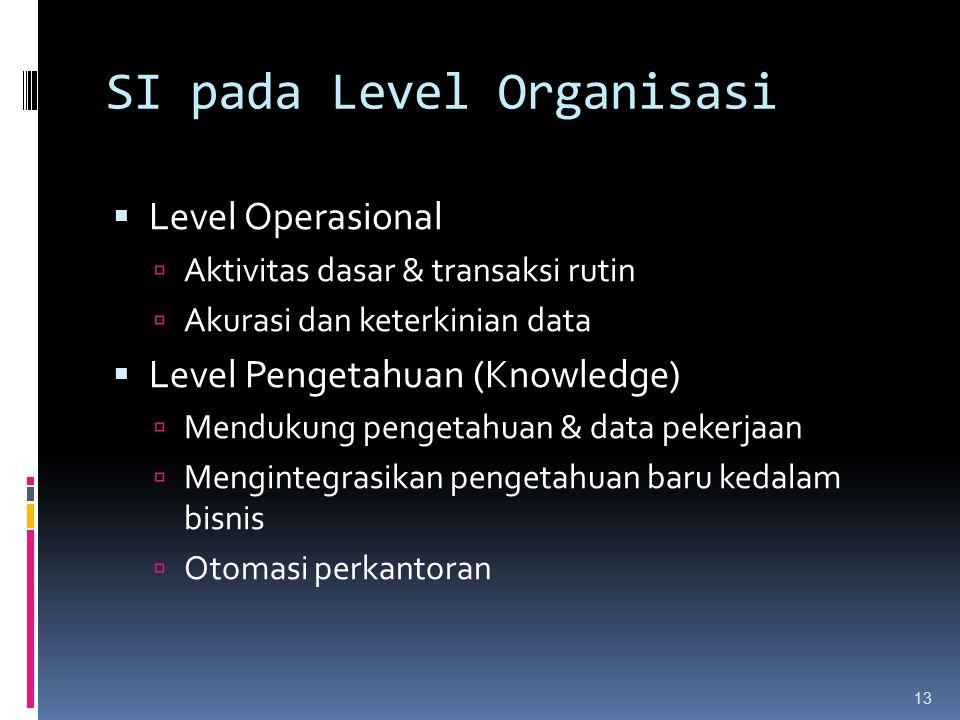 SI pada Level Organisasi  Level Operasional  Aktivitas dasar & transaksi rutin  Akurasi dan keterkinian data  Level Pengetahuan (Knowledge)  Mendukung pengetahuan & data pekerjaan  Mengintegrasikan pengetahuan baru kedalam bisnis  Otomasi perkantoran 13