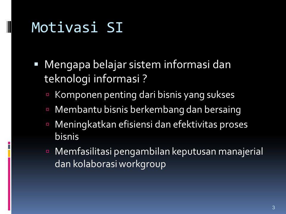 Motivasi SI  Mengapa belajar sistem informasi dan teknologi informasi .