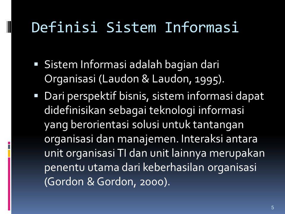 Definisi Sistem Informasi  Sistem Informasi adalah bagian dari Organisasi (Laudon & Laudon, 1995).