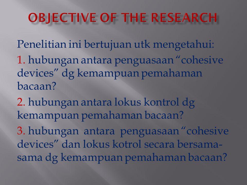 Penelitian ini bertujuan utk mengetahui: 1.