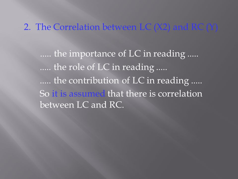 2. The Correlation between LC (X2) and RC (Y)..... the importance of LC in reading.......... the role of LC in reading.......... the contribution of L