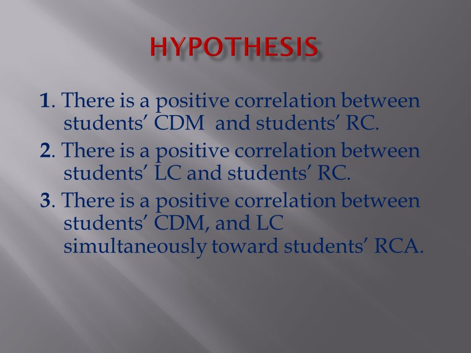 1. There is a positive correlation between students' CDM and students' RC. 2. There is a positive correlation between students' LC and students' RC. 3