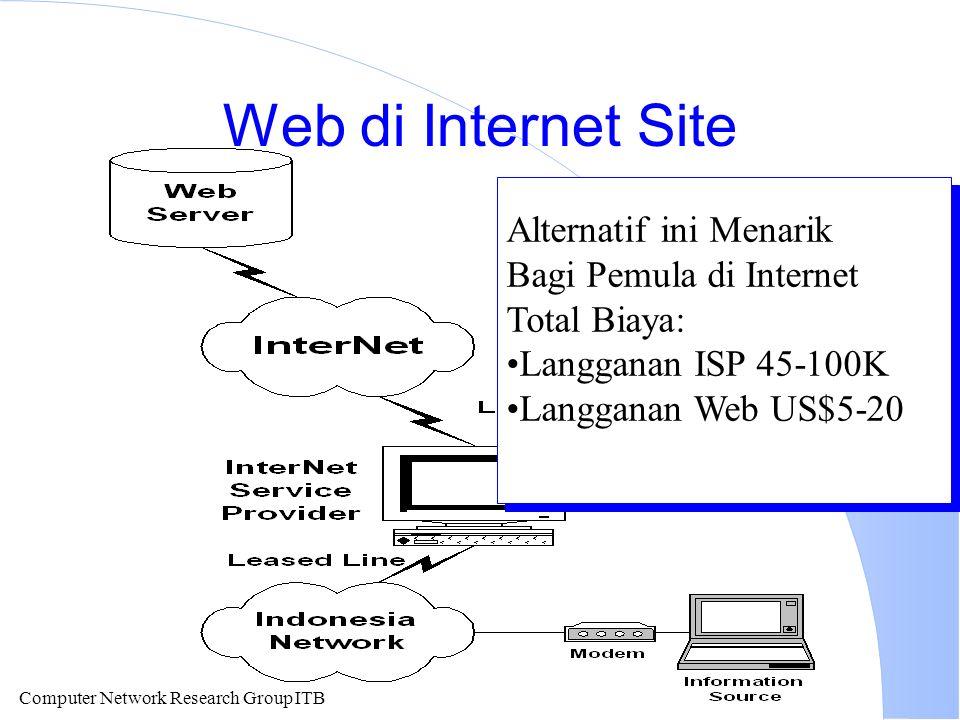 Computer Network Research Group ITB Web di Internet Site Alternatif ini Menarik Bagi Pemula di Internet Total Biaya: Langganan ISP 45-100K Langganan Web US$5-20 Alternatif ini Menarik Bagi Pemula di Internet Total Biaya: Langganan ISP 45-100K Langganan Web US$5-20