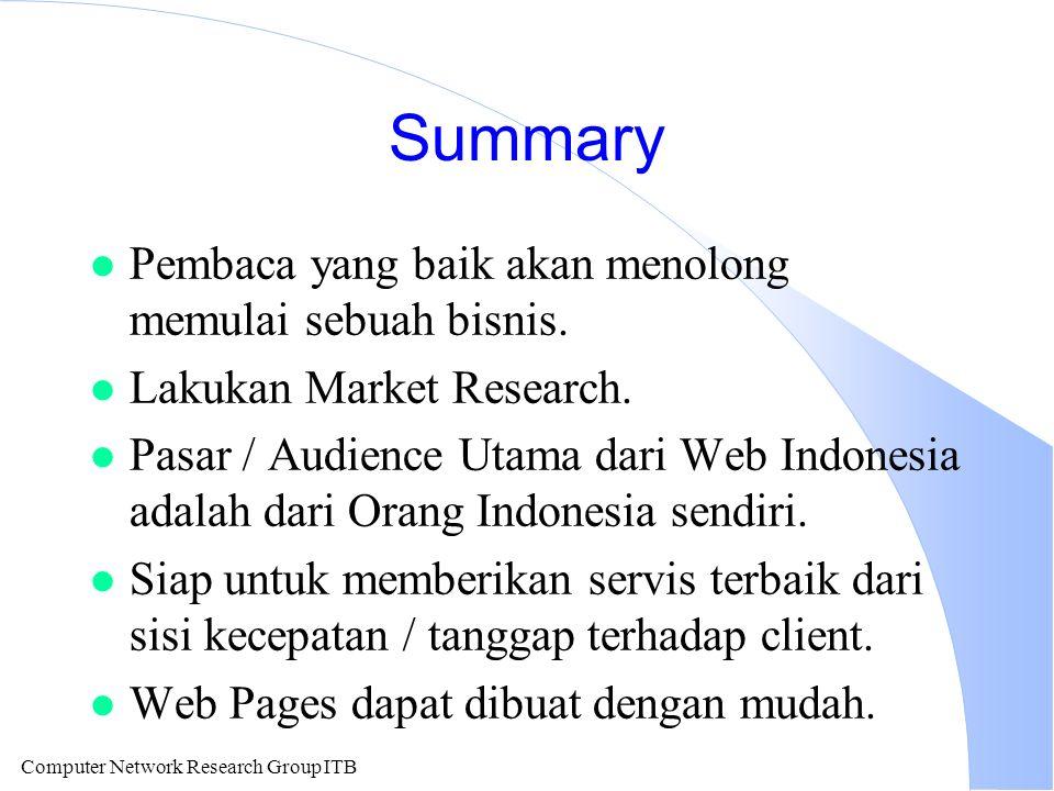Computer Network Research Group ITB Summary l Pembaca yang baik akan menolong memulai sebuah bisnis.