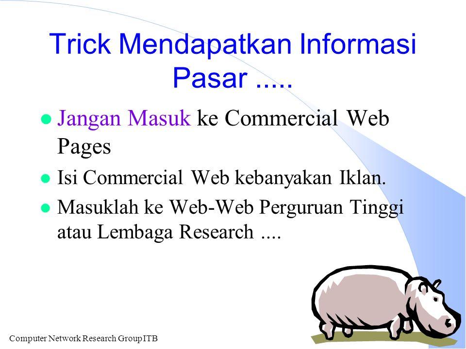 Computer Network Research Group ITB Trick Mendapatkan Informasi Pasar.....