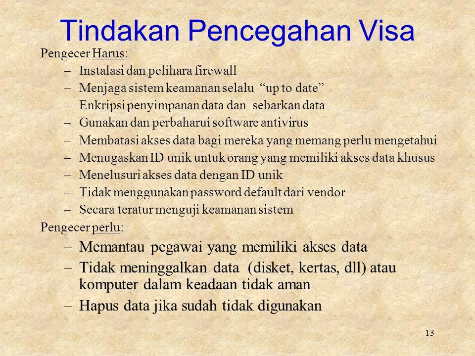 """13 Tindakan Pencegahan Visa Pengecer Harus: –Instalasi dan pelihara firewall –Menjaga sistem keamanan selalu """"up to date"""" –Enkripsi penyimpanan data d"""